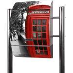 Banjado Briefkasten Edelstahl mit Ständer | Postkasten freistehend 126x53x17cm | Standbriefkasten mit Zeitungsfach und Namensschild Motiv London Red Telephone