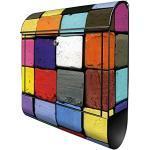 banjado® Design Briefkasten mit Motiv Bunte Kreide 39x47x14cm & 2 Schlüssel - Briefkasten Stahl schwarz mit Zeitungsfach pulverbeschichtet - Postkasten A4 Einwurf inkl. Montagematerial