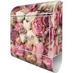banjado® Design Briefkasten mit Motiv Strauss Rosen 39x47x14cm & 2 Schlüssel - Briefkasten Stahl weiß mit Zeitungsfach pulverbeschichtet - Postkasten A4 Einwurf inkl. Montagematerial