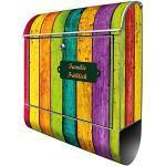 Banjado Design Briefkasten personalisiert mit Motiv Bunte Holzlatten | Stahl pulverbeschichtet mit Zeitungsrolle | Größe 39x47x14cm, 2 Schlüssel, A4 Einwurf, inkl. Montagematerial