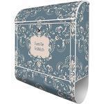 Banjado Design Briefkasten personalisiert mit Motiv Royal Creme Blau | Stahl pulverbeschichtet mit Zeitungsrolle | Größe 39x47x14cm, 2 Schlüssel, A4 Einwurf, inkl. Montagematerial