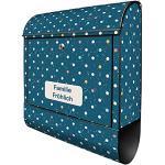 banjado® Design Briefkasten personalisiert Motiv Punkte auf Blau 39x47x14cm & 2 Schlüssel - Briefkasten Stahl schwarz Zeitungsfach pulverbeschichtet - Postkasten A4 Einwurf inkl. Montagematerial