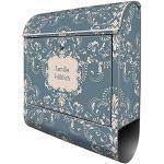 banjado® Design Briefkasten personalisiert Motiv Royal Creme Blau 39x47x14cm & 2 Schlüssel - Briefkasten Stahl silber Zeitungsfach pulverbeschichtet - Postkasten A4 Einwurf inkl. Montagematerial