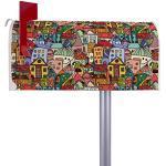 BANJADO US Mailbox | Amerikanischer Briefkasten 51x22x17cm | Letterbox Stahl weiß | mit Motiv Funky Town | inkl silbernem Standfuß