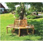 Baumbank 360° Holz 6 Sitzer braun