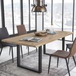 Baumkanten Esstisch aus Wildeiche Massivholz und Stahl Loft Design