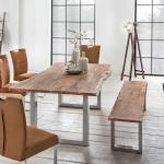 Baumkanten Tischgruppe aus Akazie Massivholz Bank (2-teilig)