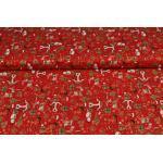 Baumwollstoff Weihnachten, Weihnachtsmotive rot