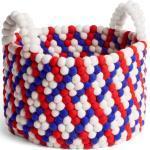 Bead Basket Korb mit Griff Red Basket Weave Hay