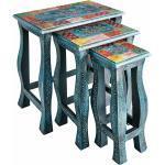 Beistelltisch Set in Blau und Bunt Shabby Chic Design (3-teilig)