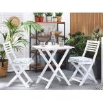 Beliani - Balkonset Weiß Akazienholz 2 Stühle 1 Teetisch 2 Auflagen im geometrischen Muster Gartenmöbelset