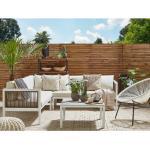 Beliani - Lounge Set Weiß Braun Beige Aluminium Sicherheitsglas inkl. Kissen 4-Sitzer Terrasse Outdoor Modern Minimalistisch