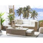 Beliani - Lounge Set Weiß Braun PE Rattan Kaffeetisch 2 Ottomane Auflagen Modern Outdoor