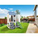 Belladoor Spielturm Set Felias grau/weiß/blau mit Wasserrutsche tweeb limongrün