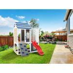 Belladoor Spielturm Set Felias grau/weiß/blau mit Wasserrutsche tweeb rot