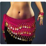 Belly Dance Bauchtanz Kostüm in pink Hüfttuch inkl. ein paar Handketten Münzgürtel Fasching Karneval