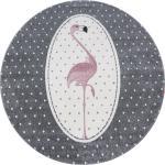 Ben'n'jen KINDERTEPPICH , Grau, Weiß, Pink , Flamingo , rund , OEKO-TEX® STANDARD 100 , für Fußbodenheizung geeignet, schmutzabweisend, Hausstauballergiker lichtunempfindlich, antistatisch, waschbar, pflegeleicht, strapazierfähig, leicht zusammenrollbar , Teppiche & Böden, Teppiche, Kinderteppiche