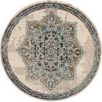 benuta Teppich Casa Beige/Türkis ø 120 cm rund - Vintage Teppich im Used-Look