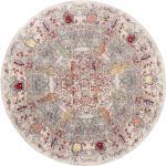 benuta Teppich Visconti Multicolor/Grau ø 120 cm rund - Vintage Teppich im Used-Look