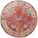 benuta Teppich Visconti Multicolor/Orange ø 120 cm rund - Vintage Teppich im Used-Look