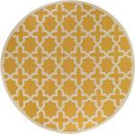 benuta Wollteppich rund Windsor Gelb ø 200 cm rund - Naturfaserteppich aus Wolle