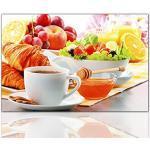 """BERGER DESIGNS - Küchenbild """"Breakfast"""" 40 x 60cm auf Leinwand und Holzkeilrahmen (Küche, Frühstück, Tasse Kaffee, Obst, Früchte, Vitamine, Ernährung) - Beste Qualität, handgefertigt in Deutschland - Ganz einfach auspacken, aufhängen und freuen."""