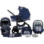 bergsteiger Kombi-Kinderwagen »Capri«, (10-tlg), blau, blue stripes - Gestell: anthrazit