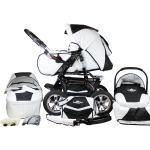 bergsteiger Kombi-Kinderwagen »Milano«, (10-tlg), weiß, black & white