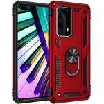 BestST Huawei P40 Pro Hülle, für Huawei P40 Pro Schutzhülle + Displayschutz 360 Grad Drehbar Ringhalter mit Magnetischer Handyhalter Auto Handy hülle- Rot