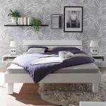 Bett in Weiß Buche Massivholz