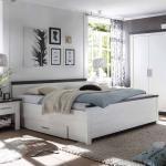 Bett mit Schubladen Pinie Weiß