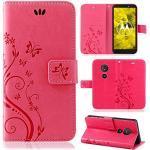 betterfon   Flower Case Handytasche Schutzhülle Blumen Klapptasche Handyhülle Handy Schale für Motorola Moto G6 Play Pink