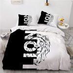 Bettwäsche-Set 220x240 cm Löwe, Schwarz-Weiß, Patchwork, Anti-Allergie 110gsm Mikrofaser Bettbezug für Erwachsene Jugendliche Jungen mit Reißverschluss + 2 Kopfkissenbezug