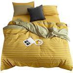 Bettwäscheset für King-Size-Betten, 100 % gewaschene Baumwolle, Senfgelb gestreift, Streifenmuster mit Reißverschluss, Patchwork-Bettwäsche-Set, Toffee und Gelb