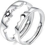 Beydodo Ringe Paare mit Gravur I Love You Silber 925, Verlobungsringe Sonne Mond Partner Ringe für Sie und Ihn Verstellbar