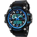BHGWR Herren Analog-Digital Quarz Sport Uhr mit Plastik Armband stoßfest LED 5 ATM wasserdicht Militär Uhren mit Countdown/Wecker/Stoppuhr für Herren Blau