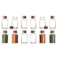 BigDean Gewürzbehälter »Set Gewürzgläser mit Korken−Deckel 300 ml Rund«, Glas, (12-tlg), 12 tlg.