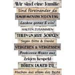 BigDean Wandbild »Holzschild Wandbild groß mit Sprüchen − 51 x 33 cm − Wand Deko mit Familienregeln − Vintage Shabby Chic − Sprüche Schilder«