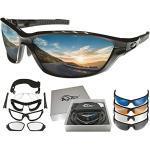 BIGWAVE Pro-Action 904 Black – Superentspiegelte Premium UV 400 Sportbrille mit 4 Wechselgläsern–Radsportbrille mit schmutzabweisender Clean-Coat Beschichtung mit Sehstärke für Damen und Herren…