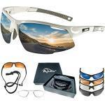 BIGWAVE Pro-Active 905 Weiss – Superentspiegelte Premium UV 400 Sportbrille mit 4 Wechselgläsern–Radsportbrille mit schmutzabweisender Clean-Coat Beschichtung für Damen und Herren
