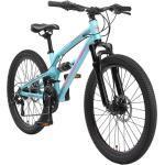BIKESTAR Aluminium Fully Mountainbike Shimano 21 Gang, Scheibenbremse | 24 Zoll MTB Vollgefedert | Blau