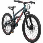 BIKESTAR Aluminium Fully Mountainbike Shimano 21 Gang, Scheibenbremse   24 Zoll MTB Vollgefedert   Grün