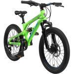 BIKESTAR Aluminium Fully Mountainbike Shimano 7 Gang, Scheibenbremse | 20 Zoll MTB Vollgefedert | Grün