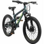 BIKESTAR Aluminium Fully Mountainbike Shimano 7 Gang, Scheibenbremse | 20 Zoll MTB Vollgefedert | Petrol