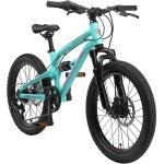 BIKESTAR Aluminium Fully Mountainbike Shimano 7 Gang, Scheibenbremse | 20 Zoll MTB Vollgefedert | Türkis