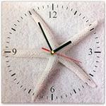 Bilderdepot24 Wanduhr aus Glas 30x30cm - 361, Maritim Motiv - Weißer Seestern - Uhr aus Glas - Glasuhr - 3D Optik - Analog - dekoratives Muster - günstig - Ziffernblatt - Uhrwerk - Wanduhr - Uhrzeit