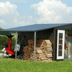 Biohort Seitendach (Passend für: Biohort Gerätehaus Europa Gr. 6/7, Dunkelgrau Metallic, 3 x 1,5 m)