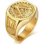 Goldene Gothic Bishilin Freimaurer Ringe poliert aus Edelstahl zum Jubiläum für Herren