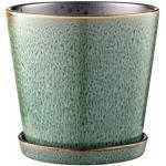 BITZ Blumentopf/Kräutertopf, Übertopf aus Keramik für Blumen und Kräuter, Durchm. 14 cm, Grün/Schwarz