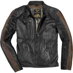Black-Cafe London Vintage Motorrad Lederjacke, schwarz-braun, Größe 54, schwarz-braun, Größe 54